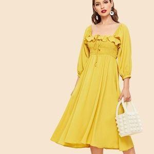 Dresses & Skirts - Yellow Ruffle Trim Long Dress
